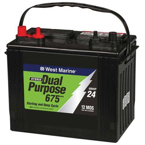 boat starting battery west marine dual purpose flooded marine battery 675 mca