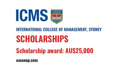bachelor scholarship at international college of management in sydney australia asean