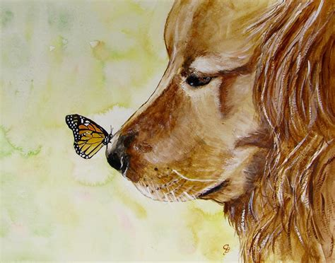 golden retriever paintings butterfly kisses painting by carol blackhurst