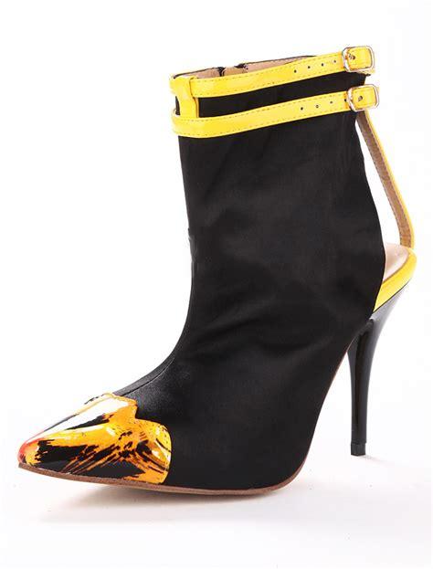 booties high heels black pointed toe stiletto heel buckle silk and satin
