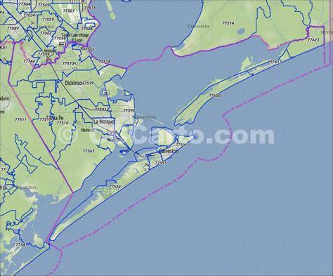 galveston texas zip code map galveston county zip code boundary map