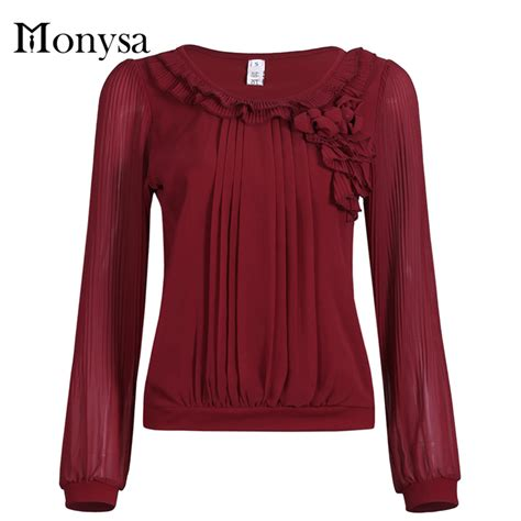 Tops Style by Sleeve Chiffon Blouses Womens Tops Fashion 2016