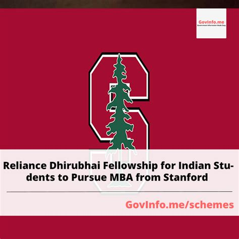 Mba Fellowship Stanford by Reliance Dhirubhai Fellowship For Indian Students To