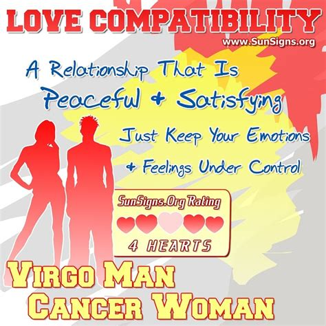 virgo man and cancer woman love compatibility sun signs