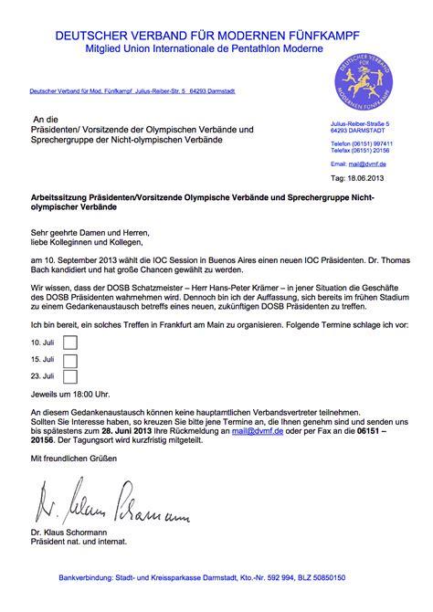 Offizieller Brief Mit Betreff Bach Nachfolge Im Dosb Objektivierung Gescheitert Sport Politics
