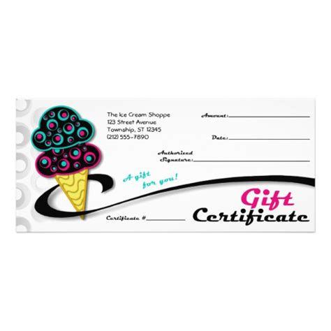 Ice Cream Gift Cards - retro ice cream cone gift certificates customized rack card zazzle