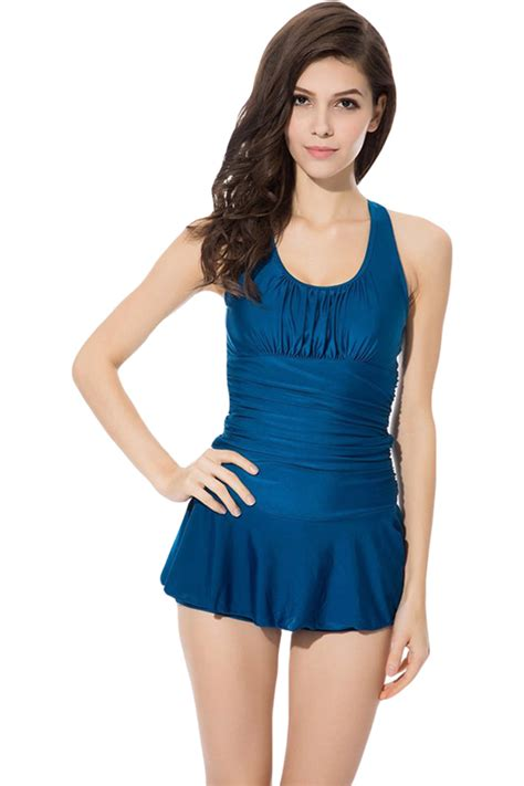 blue halter plain pleated charming womens skirted swimsuit