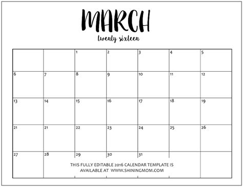 Calendar Template Word Month Editable Calendars In Word Calendar Template 2016