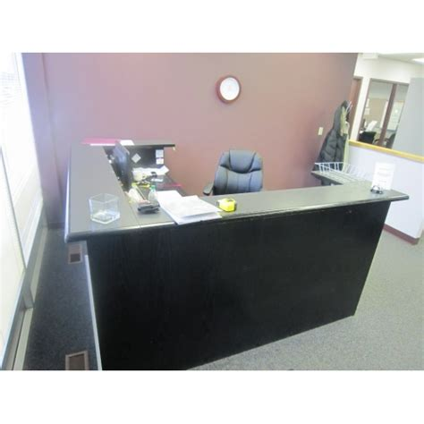 Grey Reception Desk Black Grey Reception L Counter Desk Unit Allsold Ca Buy Sell Used Office Furniture Calgary