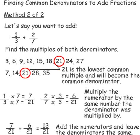 Finding common denominators and adding fractions