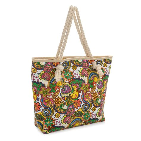 Spiegel Rope Detail Canvas Handbag by Womens New Canvas Rope Handle Multicolour Shopper