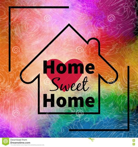 home sweet home design colorful background stock