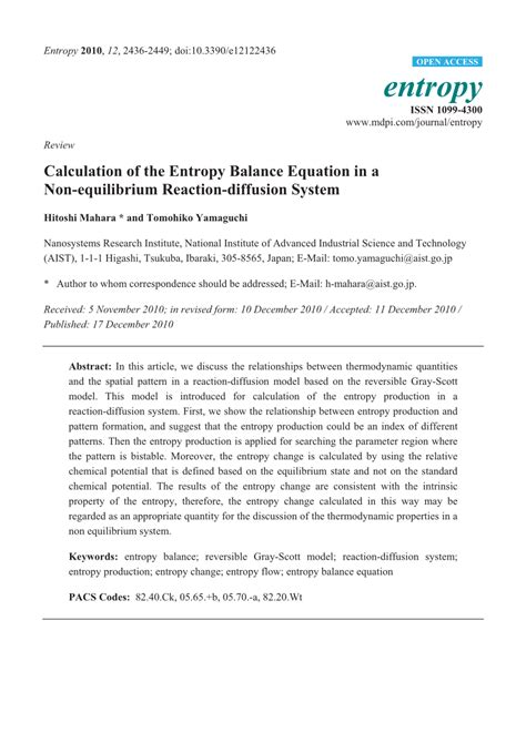 pattern formation outside of equilibrium pdf calculation of the entropy balance equation in a non