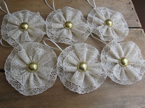 country beige lace christmas tree ornaments set by