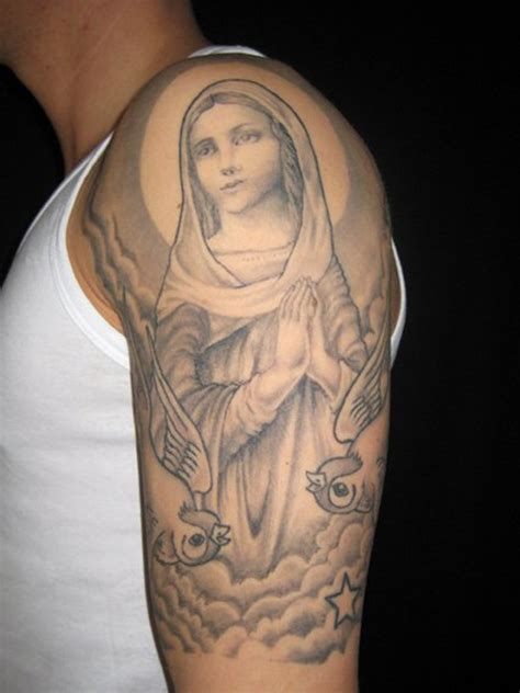 mother mary tattoos 53 adorable religious shoulder tattoos