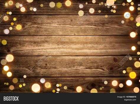 festive rustic wood background with dark vignette and