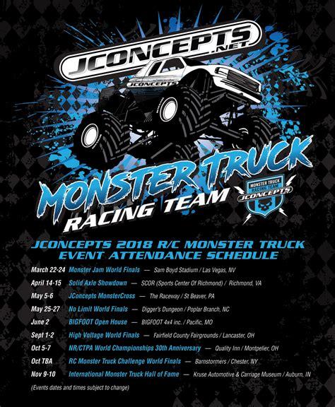 monster truck racing schedule jconcepts 2018 monster truck event schedule 171 big squid rc