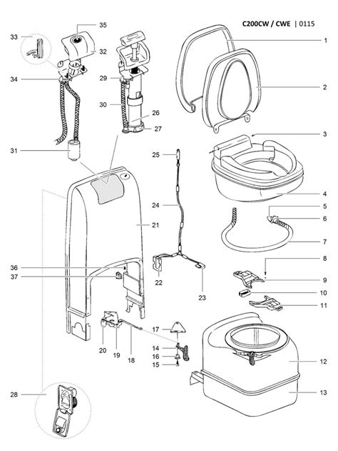 Thetford Toilet Exploded View by Caravansplus Spare Parts Diagram Thetford C200 Cw