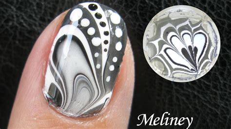 nail art tutorial using water water marble nail art tutorial black white design how