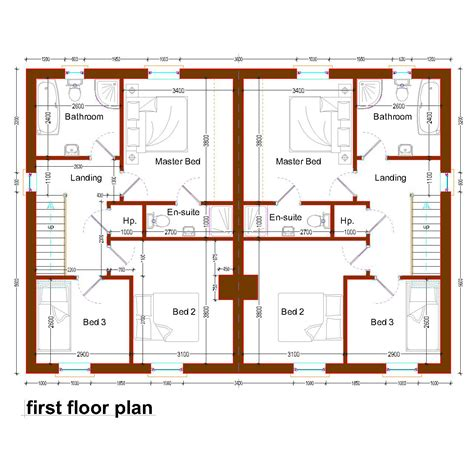 semi detached floor plans modern semi detached house plans plan attached rare charvoo