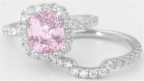 light pink sapphire engagement rings cushion cut light pink sapphire and halo
