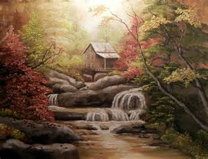 cabin in the woods painting by brown