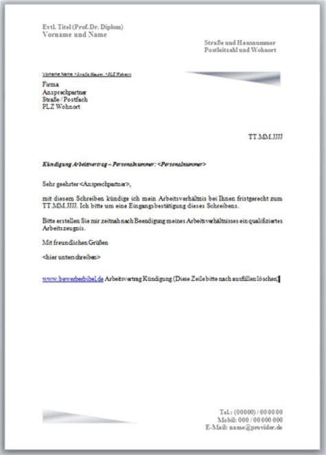 k 252 ndigung arbeitsvertrag vorlage muster und beispiele