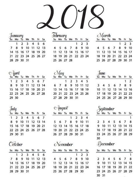 printable calendar 2018 year printable calendar 2018 yearly calendar download