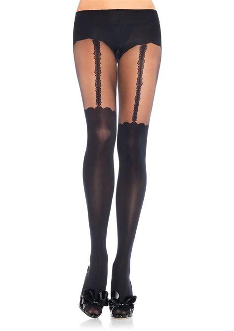 garter nylons spandex opaque garterbelt look 13 99