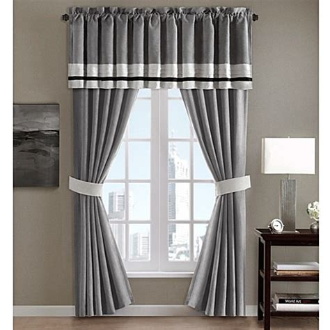Grey Valance Curtains Window Curtain Panel Pair And Valance In Grey Bed Bath Beyond