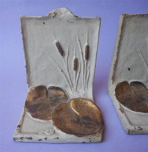 bronze mcclelland barclay bookends cattails water lily