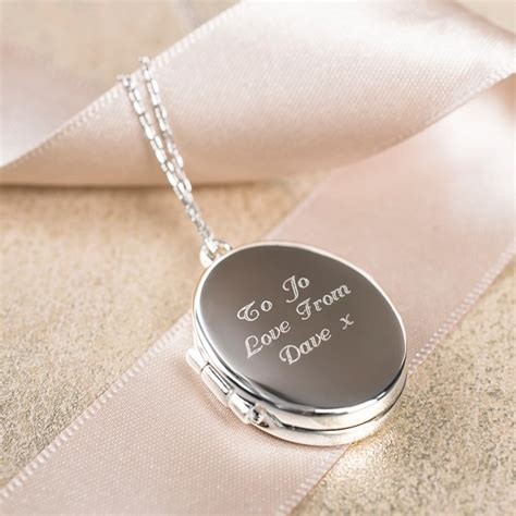 Silver Locket Key Necklace engraved silver plated oval locket necklace