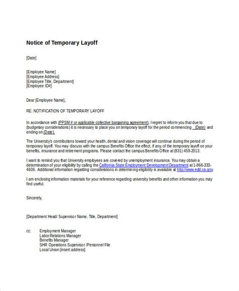 temporary layoff letter template alberta