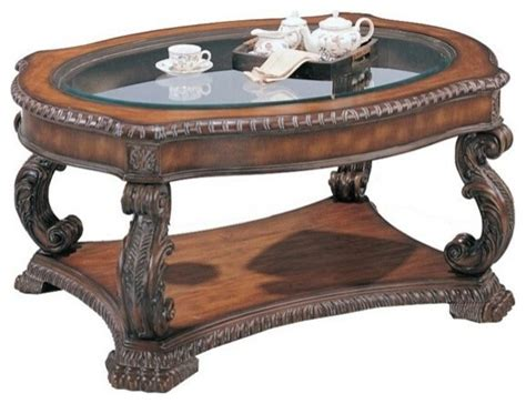 Brown Antique Finish Wood Coffee Table With Glass Top Antique Coffee Tables With Glass Top