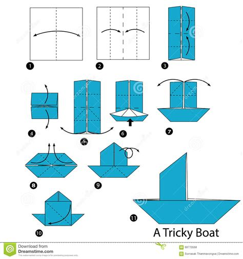 How To Make Paper Boats Step By Step That Float - step by step how to make origami a tricky
