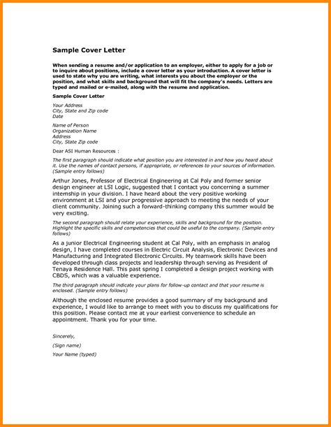 Cover Letter Exles Pdf 6 Application Letter Sle Pdf Resumed