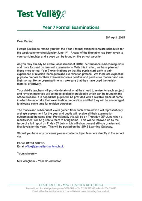 Formal Letter Format Dear Test Valley School Year 7 Formal Examinations