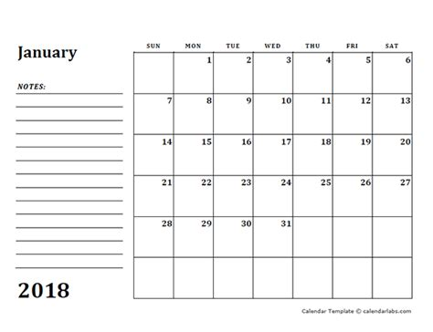 blank monthly calendar template 2018 2018 blank calendar template with notes free printable