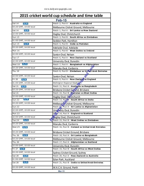 Icc World Cup 2015 Time Table by Icc Cricket World Cup 2015 Schedule With Time And Table