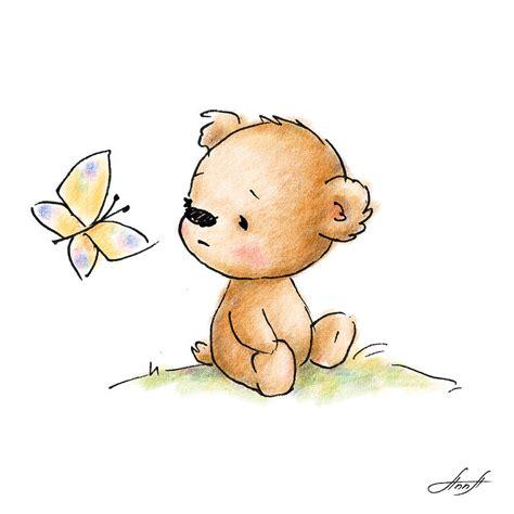 drawing of cute teddy bear with butterfly digital art by