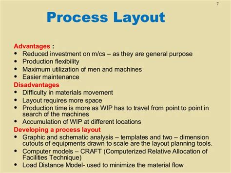 product layout merits and demerits tn6 facility layout