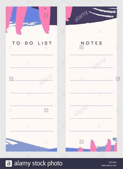 Printable Notes And To Do List Template Designs Decorated With Hand Stock Vector Art Notes Plus Templates