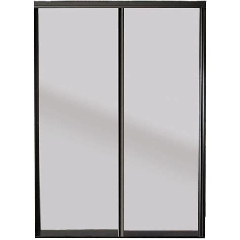 Aluminum Frame Glass Doors Contractors Wardrobe 48 In X 81 In Silhouette Bronze Frame Mystique Glass Aluminum Interior