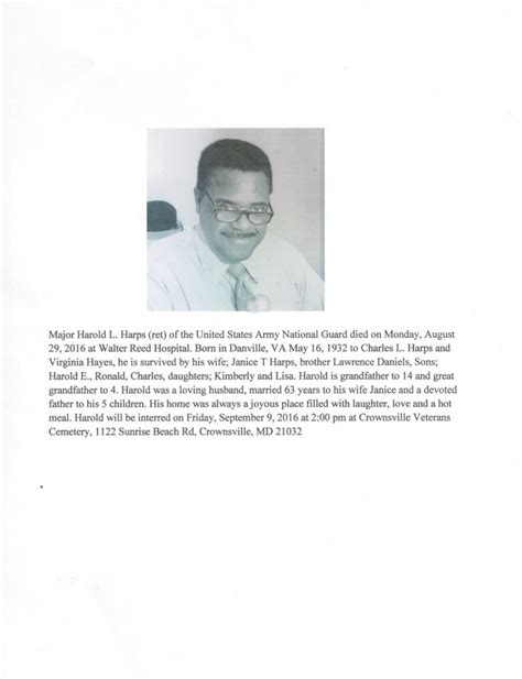 harold harps obituary rockville maryland legacy