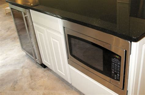 Black Island Kitchen After Island Microwave And Wine Refrigerator Lkr Home