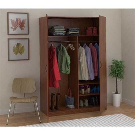 Wood Closet Rod Home Depot by Ameriwood Wardrobe Storage Closet With Hanging Rod And 2