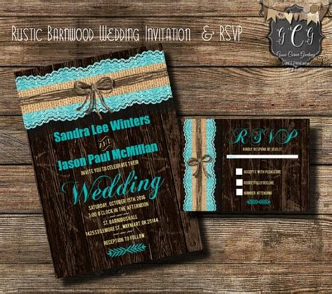 Rustic Teal Wedding Invitations teal rustic wedding invitation and rsvp rustic wedding
