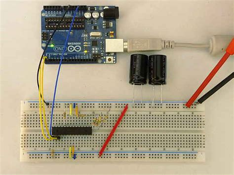 parallel capacitors on breadboard arduino powered by a capacitor the start heliosoph