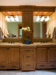 double wooden vanity in transitional bathroom hgtv