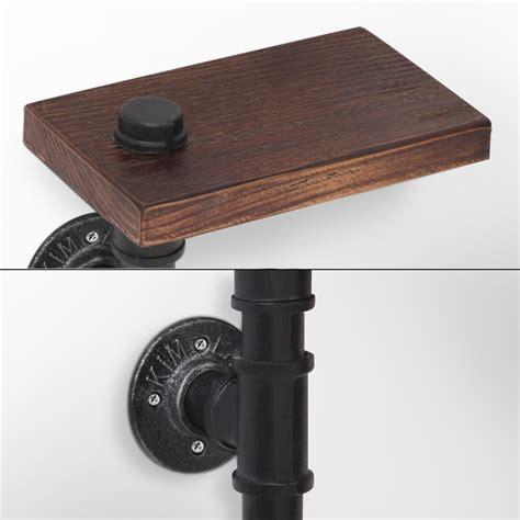 rustic industrial diy floating pipe shelf paper holder